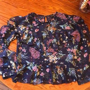 Topshop ruffled floral long sleeve blouse